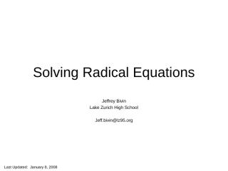 SolvingRadicalEquations.ppt